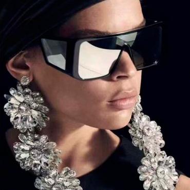 Lovely Stylish Big Frame Silver PC Sunglasses