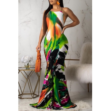 Lovely Bohemian Halter Neck Printed Multicolor Floor Length Dress