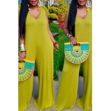 Lovely Leisure V Neck Light Green One-piece Jumpsuit
