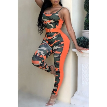 Lovely Casual Camouflage Printed One-piece Jumpsuit(With Belt)