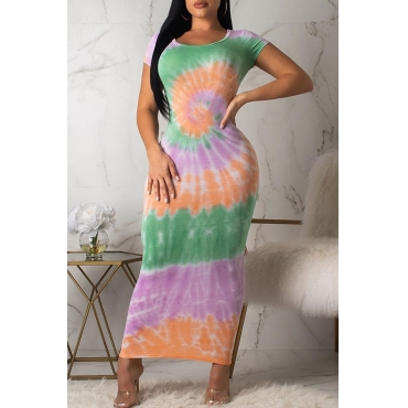 Lovely Casual O Neck Tie-dye Multicolor Ankle Length A Line Dress