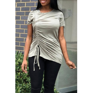 Lovely Casual O Neck Drawstring Light Grey T-shirt