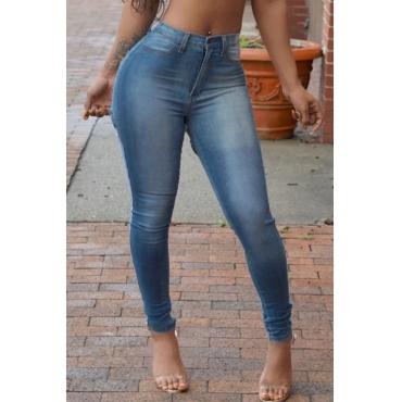 Lovely Stylish Zipper Design Baby Blue Jeans