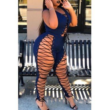 Lovely Sexy Lace-up Hollow-out Deep Blue Denim One-piece Jumpsuit