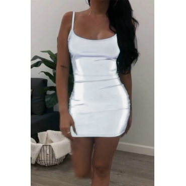 Lovely Sexy U Neck Spaghetti Straps Backlless Silver Mini Dress