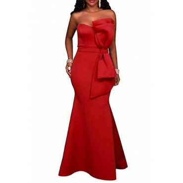 Lovely Elegant Off The Shoulder Bow-tie Decoration Red Floor Length Dress