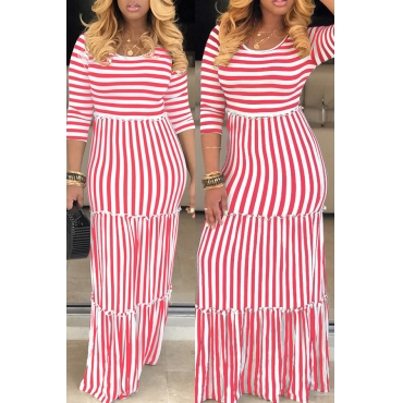 Lovely Casual O Neck Striped Red Floor Length Dress