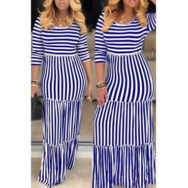 Lovely Casual O Neck Striped Blue Floor Length Dress