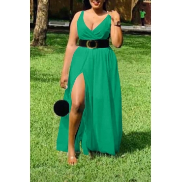 Lovely Stylish V Neck Side Split Green Ankle Length Dress(With Belt)