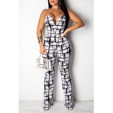 Lovely Sexy V Neck Off The Shoulder Printed White One-piece Jumpsuit