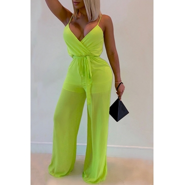 Lovely Sexy V Neck See-through Green One-piece Jumpsuit