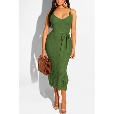 Lovely Stylish Spaghetti Straps Hollow-out Deep Green Mid Calf Dress