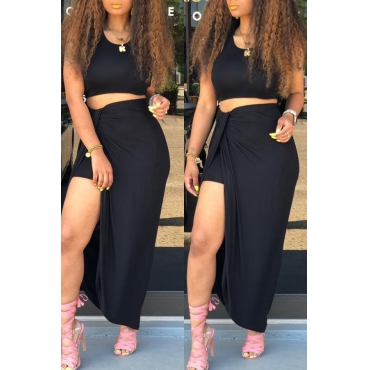 Lovely Casual O Neck Asymmetrical Black Two-piece Skirt Set