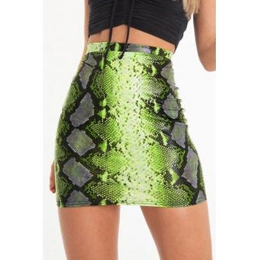 Lovely Stylish Snakeskin Pattern Printed Green Mini A Line Skirt