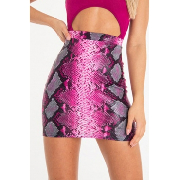 Lovely Stylish Snakeskin Pattern Printed Rose Red Mini A Line Skirt
