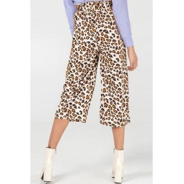 Lovely Stylish High Waist Leopard Printed Yellow Pants