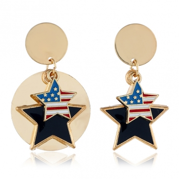 Lovely Independence Day Fashion Patchwork Blue Alloy Earring