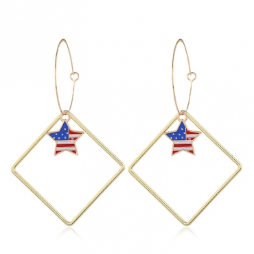 Lovely Independence Day Stylish Hollow-out Blue Alloy Earring