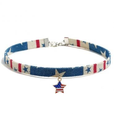 Lovely Independence Day Stylish Printed Patchwork Blue Alloy Necklace