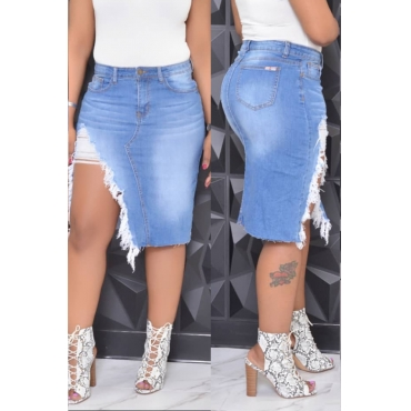 Lovely Stylish Side Split Baby Blue Denim Knee Length Skirt
