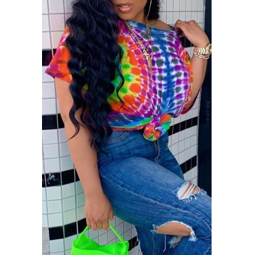 Lovely Casual One Shoulder Printed Multicolor T-shirt