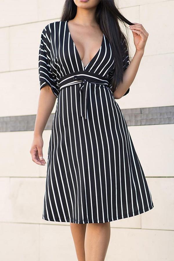 Lovely Stylish V Neck Striped Black Knee Length Dress