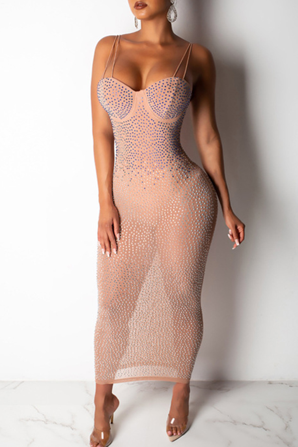 Lovely Sexy See-through Rhinestone Decoration Light Pink Ankle Length Dress(With Lining)