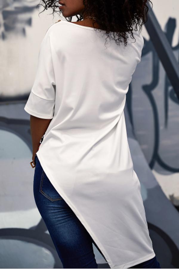 Lovely Leisure O Neck Printed Patchwork Asymmetrical White Blouse