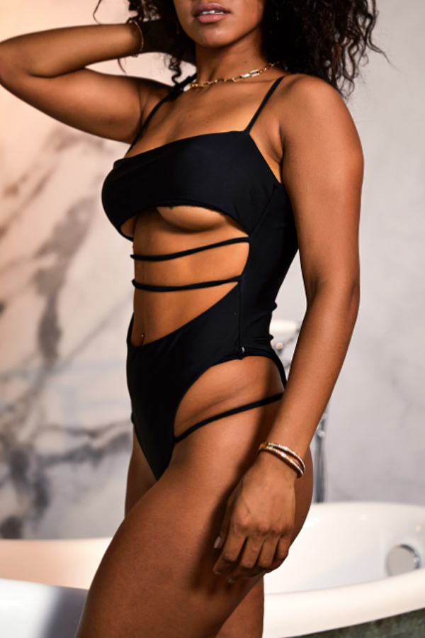 Lovely Hollow-out Black One-piece Swimwear