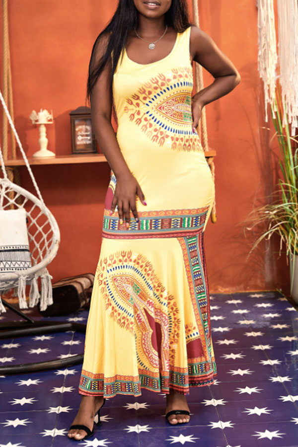 Lovely Bohemian U Neck Totem Printed Yellow Ankle Length Trumpet Mermaid Dress