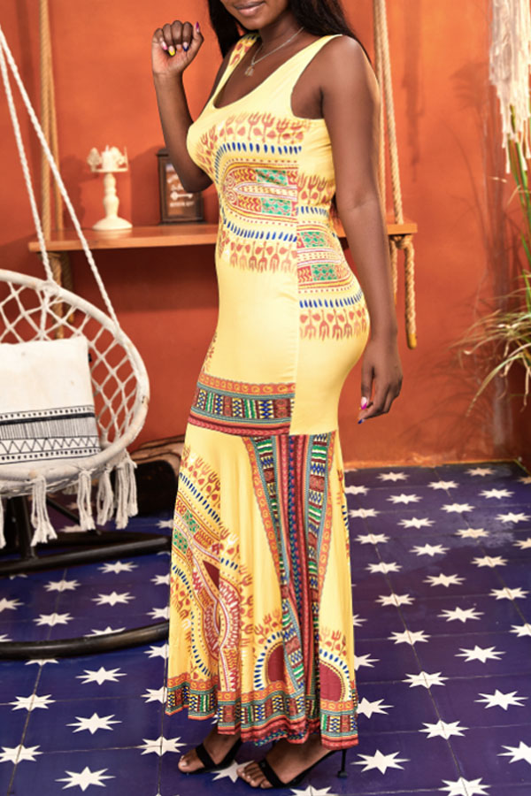 Lovely Bohemian U Neck Totem Printed Yellow Ankle Length Trumpet Mermaid Dress