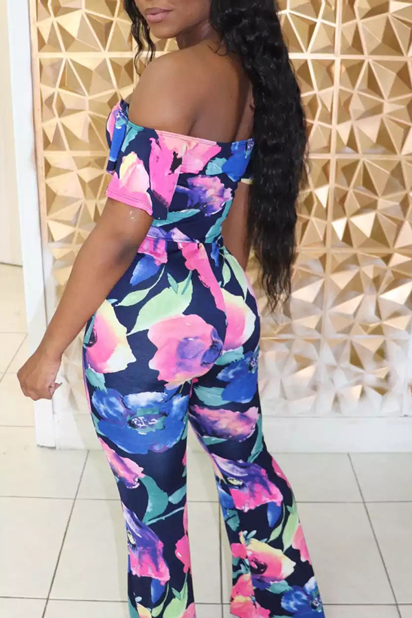 Lovely Casual Off The Shoulder Printed Blue One-piece Jumpsuit