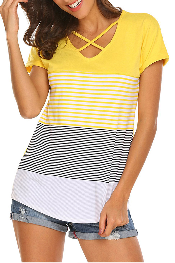 Lovely Casual V Neck Striped Hollow-out Yellow T-shirt