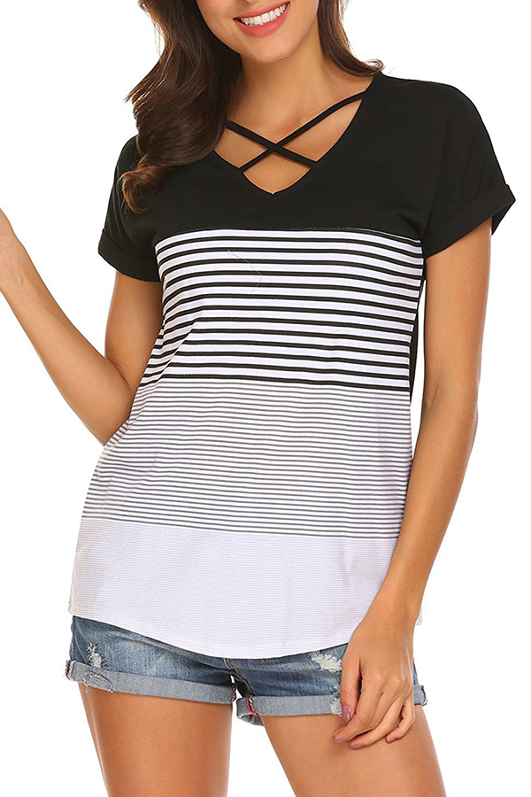 Lovely Casual V Neck Striped Hollow-out Black T-shirt