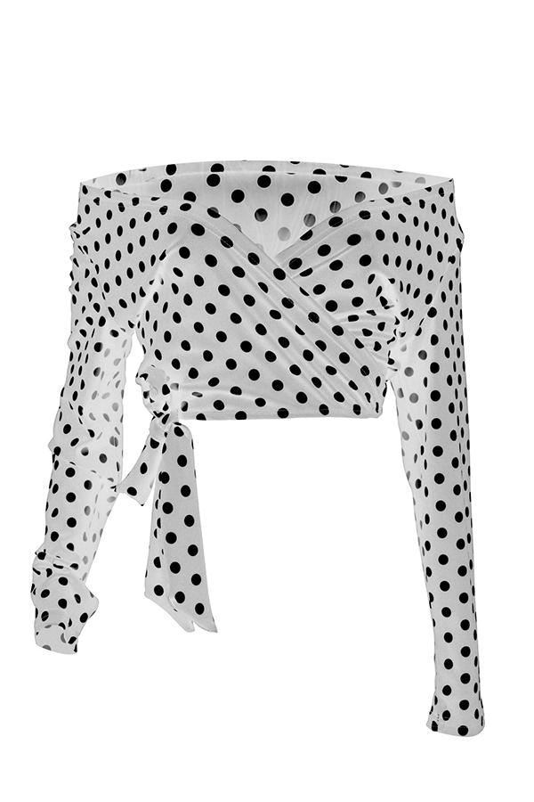 Lovely Sweet Dot Printed White Blouse
