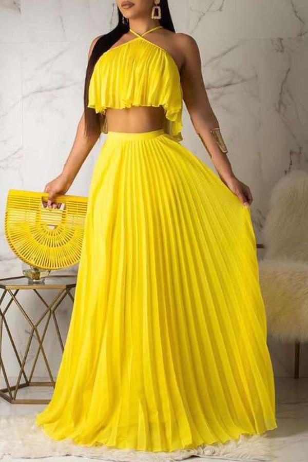 Lovely Sweet Halter Neck Drape Design Yellow Two-piece Skirt Set