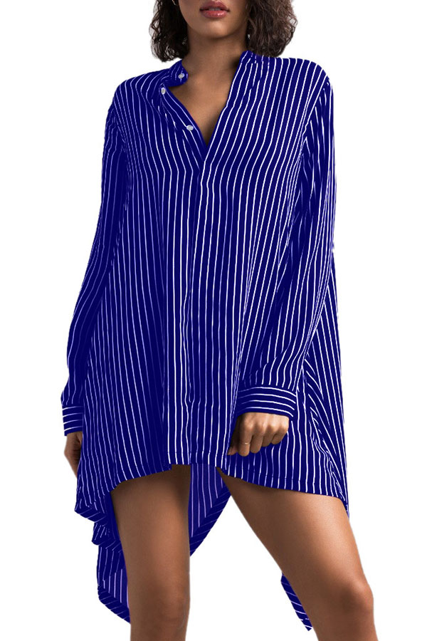 Lovely Stylish O Neck Striped Asymmetrical Blue Knee Length Dress