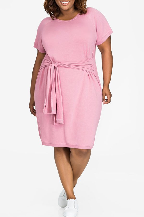 Lovely Casual O Neck Bandage Pink Cotton Knee Length Dress