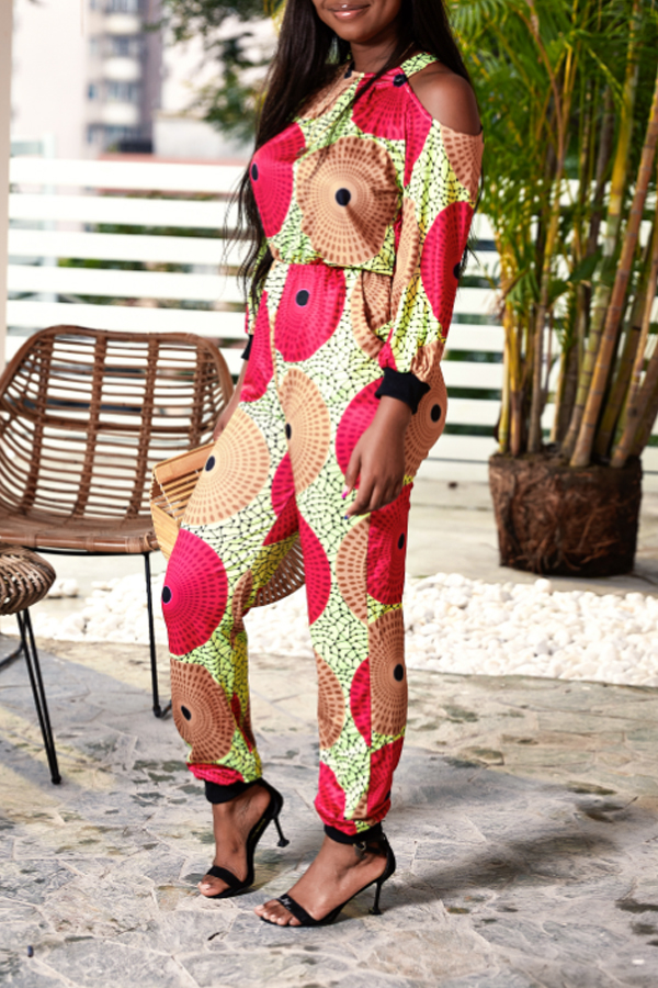 Lovely Casual Printed Hollow-out Brown One-piece Jumpsuit