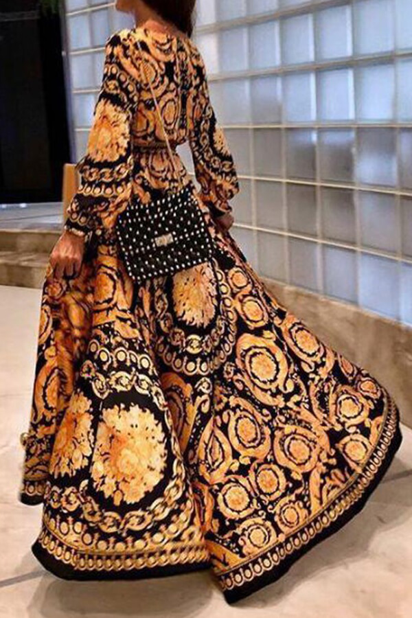 Lovely Vintage V Neck Printed Yellow Floor Length Prom Dress