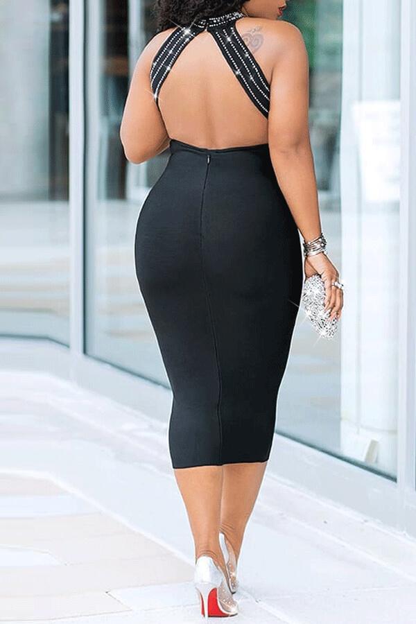Lovely Sexy O Neck See-through Black Mid Calf Dress