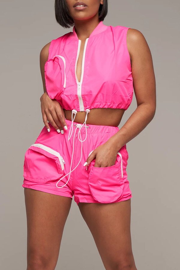 Lovely Casual O Neck Zipper Design Rose Red Two-piece Shorts Set