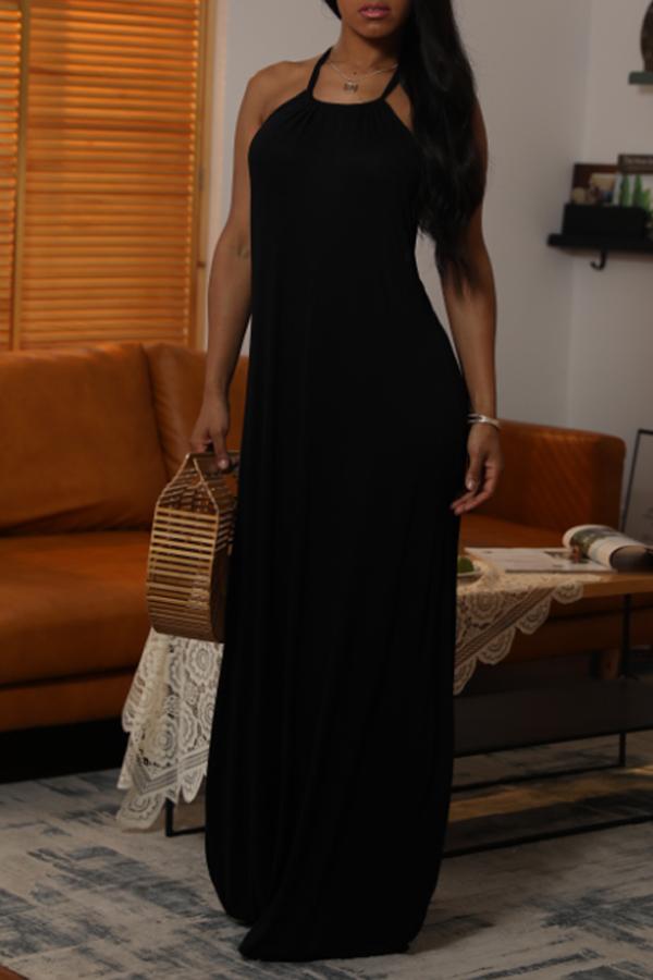Lovely Casual Halter O Neck Backless Black Ankle Length Dress