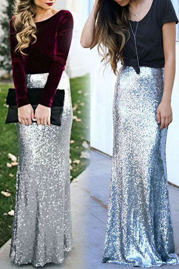 Lovely Sweet High Waist Silver Ankle Length Skirt