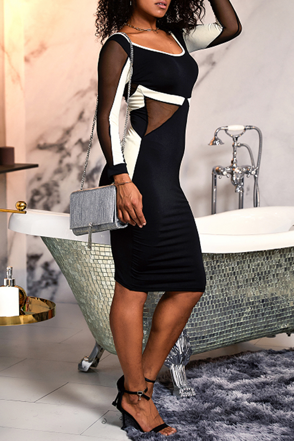 Lovely Casual O Neck Gauze Patchwork Black Knee Length Dress