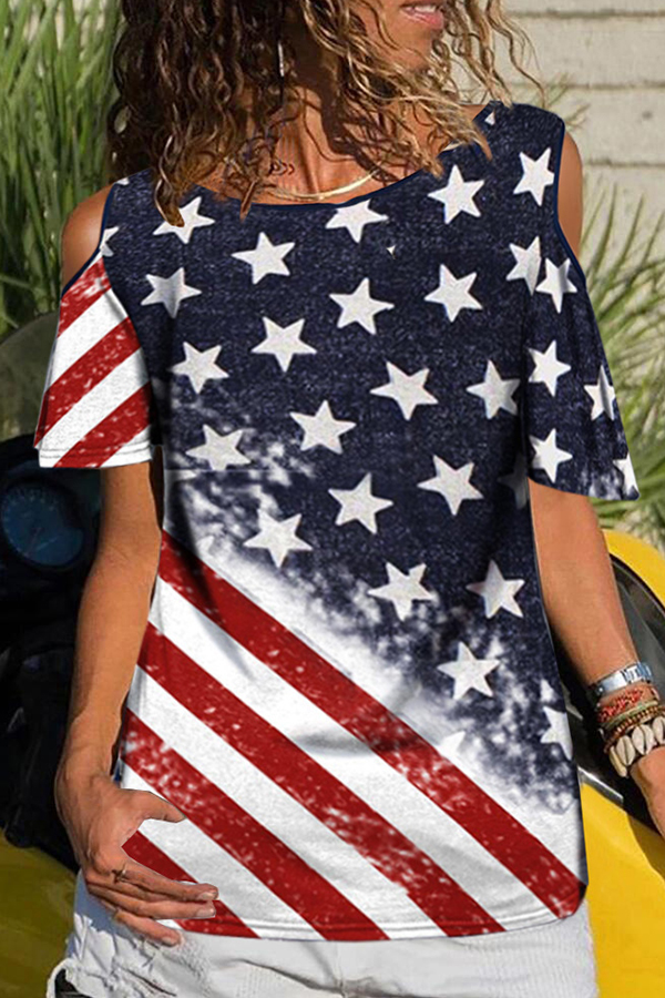 Lovely Independence Day Casual Printed Patchwork Multicolor Cotton T-shirt