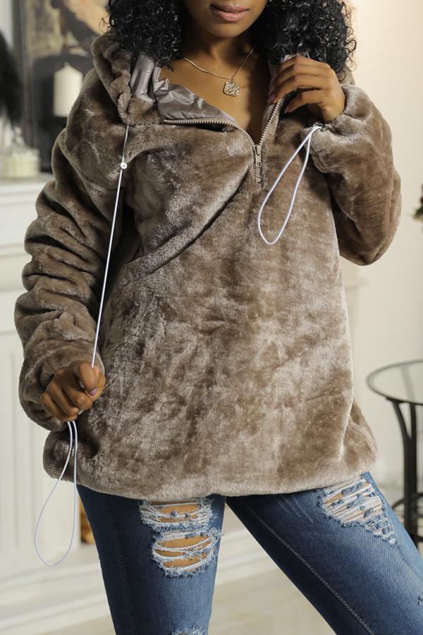 Lovely Chic Hooded Collar Zipper Design Khaki Velvet Hoodies