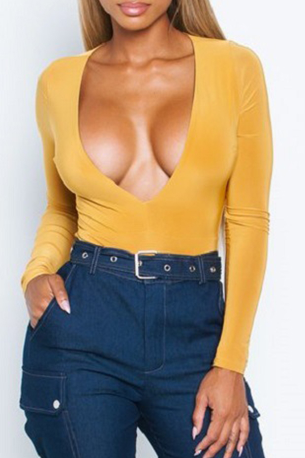 Lovely Casual Deep V Neck Yellow T-shirt