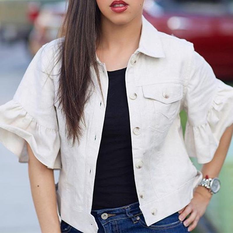 Lovely Sweet Turndown Collar White Jacket