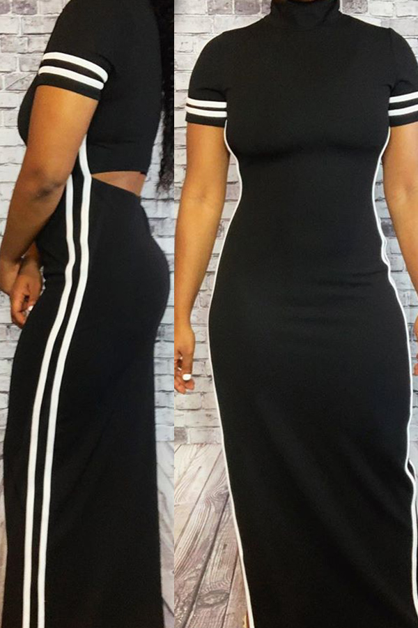 Lovely Casual Turtleneck Side Split Hollow-out Black Ankle Length Dress